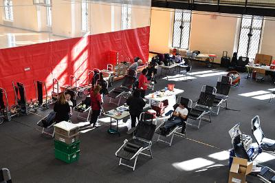 Cadets give blood in Cocke Hall during a blood drive