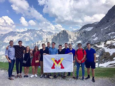 Cadets pose for a photo near Garmisch, Germany, during a study abroad trip that took them through Slovenia, Germany, and Belgium.—Photo courtesy of Lt. Col. Valentina Dimitrova-Grajzl.
