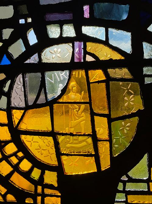 Close-up of Virginia Seal on Stained Glass Mural Wall