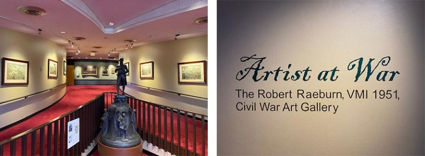 Side by side photos of museum hallway and Artist at War the Robert Raeburn Civil Ware Art Gallery sign