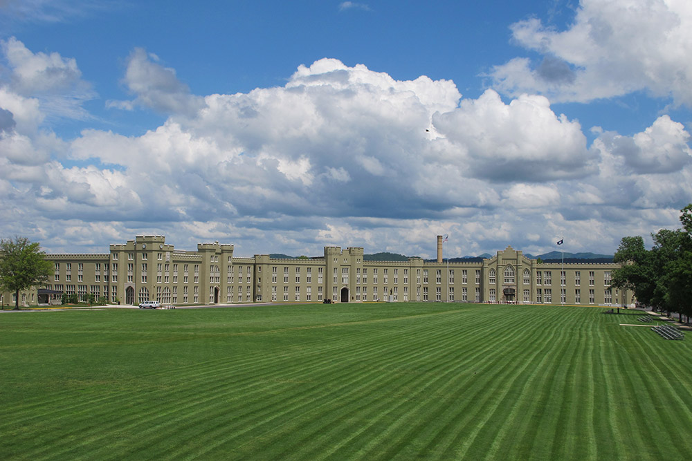 A view of the VMI Barracks and Parade Ground.