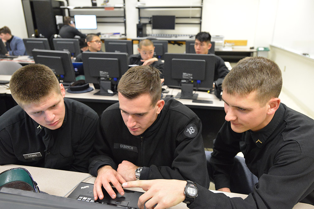 Cadets work together at a math modeling competition.