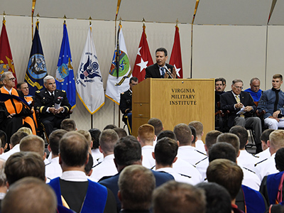 Cadets and faculty listen to Robert Kaplan