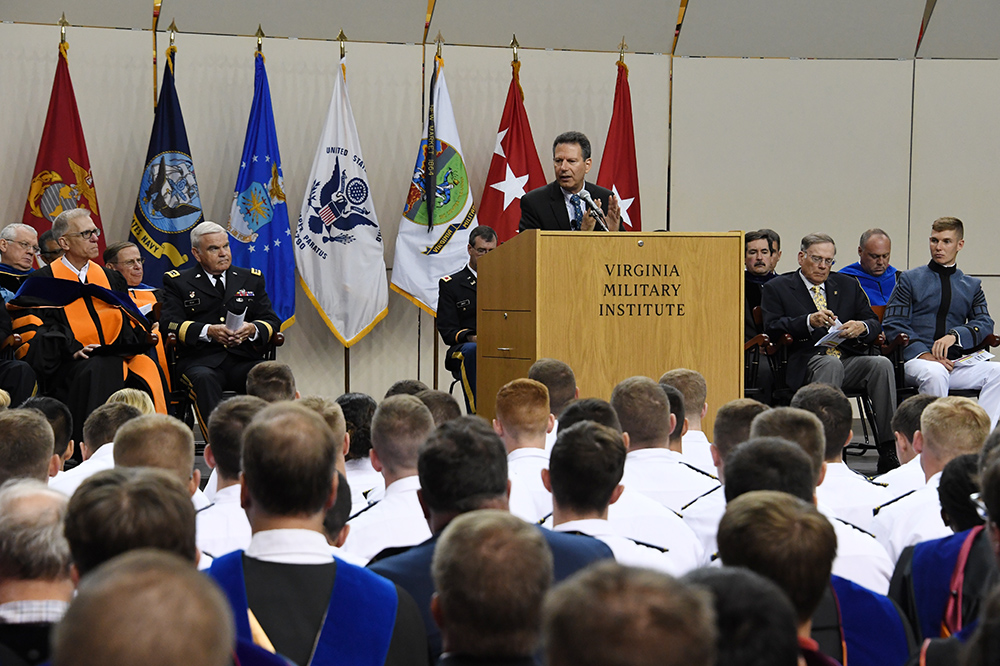 Image of cadets and faculty listening to Robert Kaplan speak