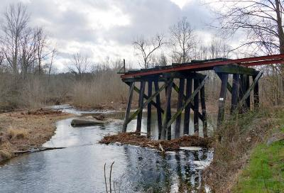 The ruins of the South River Bridge represent a break in the continuity of the Chessie Nature Trail. – VMI Photo by Maj. John Robertson IV.