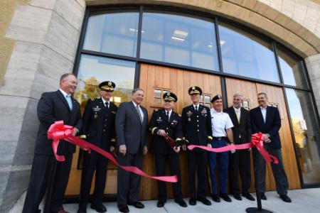 Members of VMI Sr. Administration cut ribbon at Cormack Hall