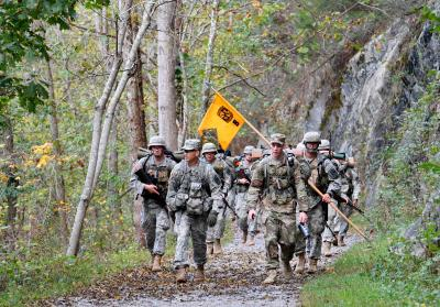 Army ROTC staff leads cadets on a march down the Chessie Trail during fall FTX. – VMI Photo by Kelly Nye.