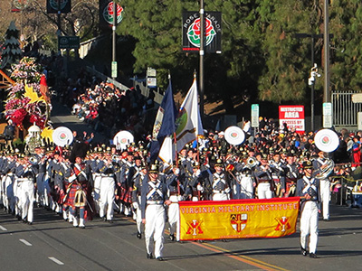 The VMI Regimental Band and Pipe Band march in the Rose Parade Jan. 1, 2016. – Photo courtesy of Col. Ned Riester.