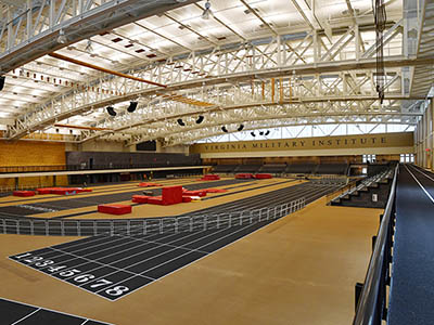 Among the features of the Corps Physical Training Facility are a 200-meter hydraulic track, overhead obstacles, a rock wall, a warmup track, and spectator seating. – VMI Photo by John Robertson IV.