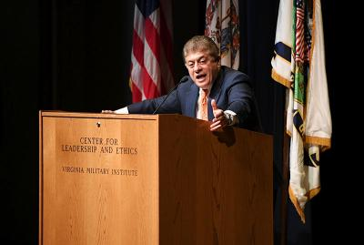 Judge Andrew Napolitano speaks to the crowd during in Gillis Theatre.