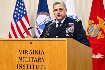 Gen. Mark Milley Speaks in Cameron Hall today.  – VMI Photo by H. Lockwood McLaughlin.