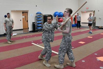 Maj. Matt Jarman demonstrates a defensive move during his modern warriorship class. – VMI Photo by H. Lockwood McLaughlin.
