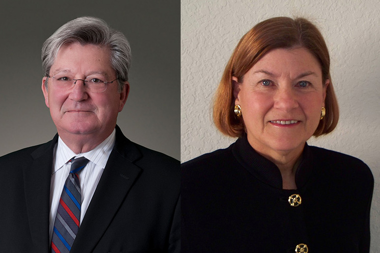 A composite image featuring headshots of Bill Boland and Fran Wilson