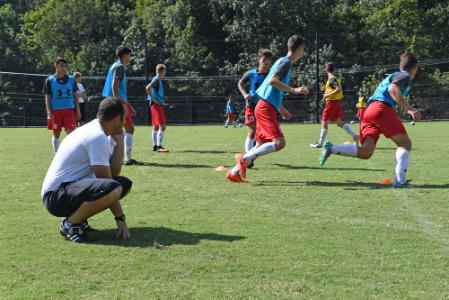 The VMI men's soccer team practices at North Post.