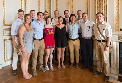 Cadets pose at the George Marshall Center in Paris.