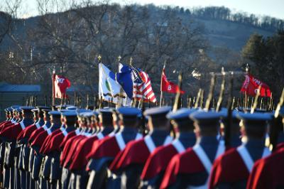 Cadets practice marching on the Parade Ground Jan. 18 to prepare for the presidential inaugural parade.