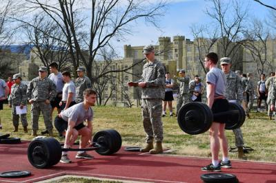 Cadets participate in Army Combat Fitness Test field trials.
