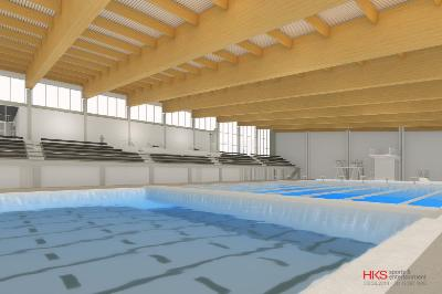 The new swimming pool will be large enough to accommodate water polo, swimming, and diving simultaneously.—Image courtesy of Col. Keith Jarvis '82.