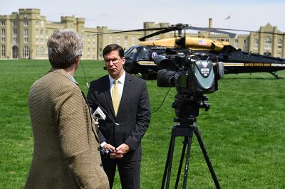 The Honorable Mark Esper, secretary of the Army, speaks with a reporter April 11.—VMI Photo by Kelly Nye.
