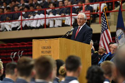 Rex Tillerson addresses graduates at a ceremony held in Cameron Hall today.