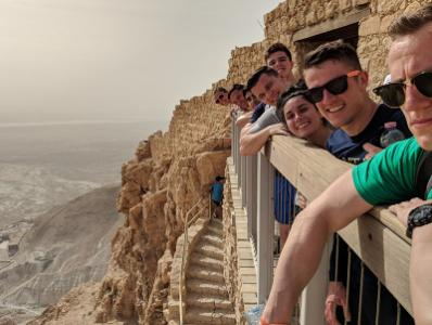 Cadets take in the view from Masada, an ancient fortress in the Judean Desert of Israel, during the Olmsted sponsored trip over Spring Furlough.