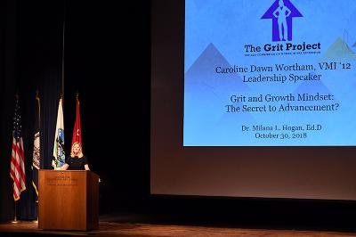 Milana Hogan speaks to Leadership Conference participants in Gillis Theater.