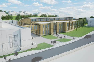 The architectural rendering features the future addition to the Corps Physical Training Facility which will house a pool.—Photo courtesy of Institute Planning.