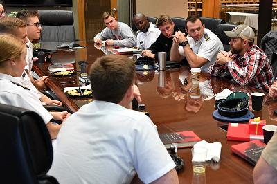 Medal of Honor Recipient sits down with cadets over breakfast.