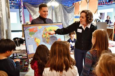 Professor of Modern Languages Maj. Abbey Carrico and Levi Harmon '18 immerse local kids in French culture Feb 16 at the Discovery Heights Children's Museum in Lexington.