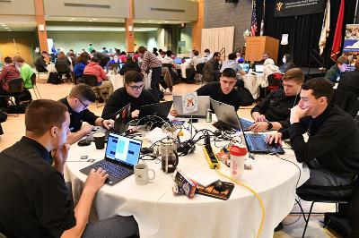 Cadets compete in the Cyber Cup Competition during Cyber Fusion in Marshall Hall Feb. 24.—VMI Photo by H. Lockwood McLaughlin.
