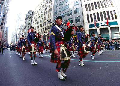 The VMI Pipe Band marches down 5th Avenue in New York City in 2003.