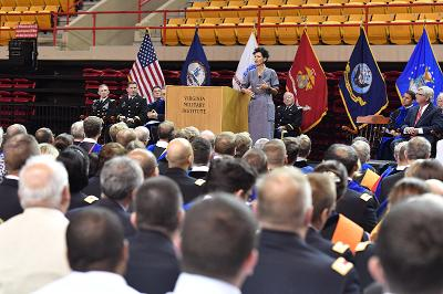 Nancy Giordano speaks to the VMI community in Cameron Hall.