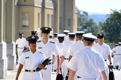 Cadets walk to class during the first week of classes at VMI.