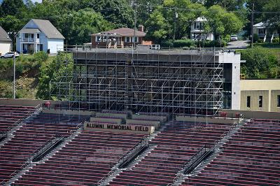 The press box atop Foster Stadium has been renovated this spring and summer.—VMI Photo by Kelly Nye.