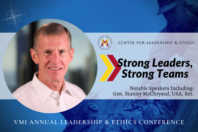 Strong Leaders, Strong Team graphic with CLE logo and photo of Gen. McChrystal