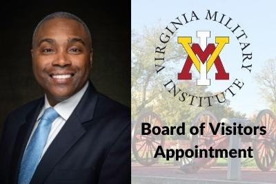 Portrait of E. Sean Lanier '94 with VMI logo and overlay