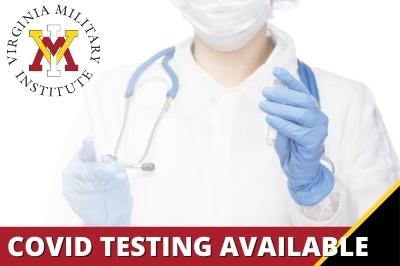 Announcement of COVID testing dates with photo of medical professional