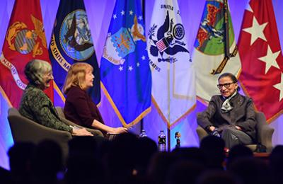 .S. Supreme Court Justice Ruth Bader Ginsburg during an on-stage interview at VMI's Cameron Hall in 2017.