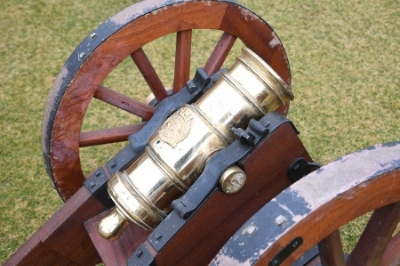 Close-up of cannon in first replacement of the entire carriage. VMI photo by H. Lockwood McLaughlin