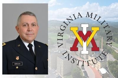 Brig. Gen. Moreschi overlayed on photo of Post with VMI logo