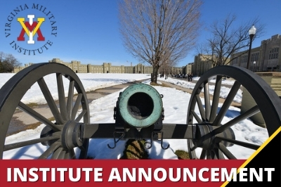 Institute Announcement with VMI Logo and canon in snow