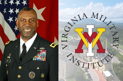 Maj. Gen. Cedric T. Wins with VMI logo