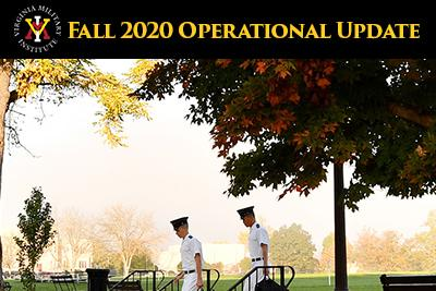 Photo of cadets walking on post in the fall with VMI logo and text of Fall 2020 Operational Update