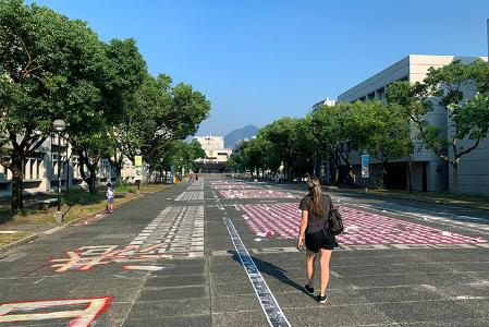 Col. Howard Sanborn's wife, Jenny, walks through the campus of the Chinese University of Hong Kong, where leaflets and other protest art line the ground